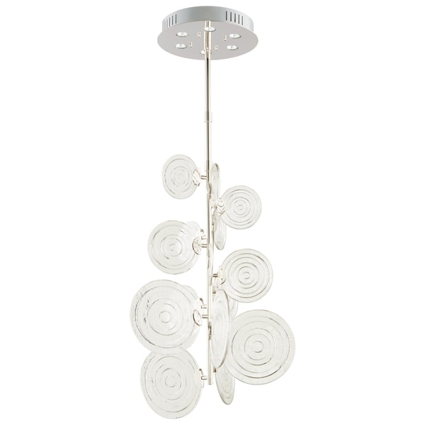 Discus Clear Polished Nickel Iron Glass 6-light Pendant