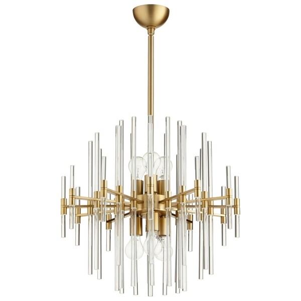 Quebec Aged Brass/Clear Glass Geometric 6-light Pendant