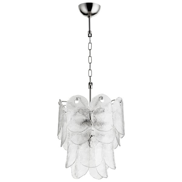 Cascata Polished Nickel/Clear Glass Pendant