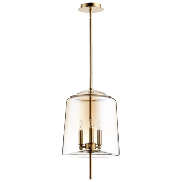 Lusterous Ombre Cognac Glass Shade Metal 3-light Pendant
