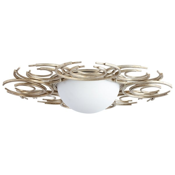Vivian Aged Silver Leaf Iron 2-light Ceiling-mount Fixture with Opal Glass Shade