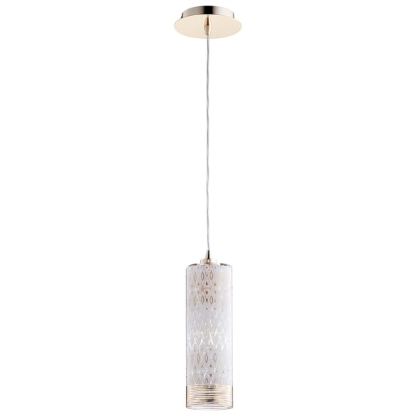 Kaska Goldtone Iron/Clear Glass Pendant
