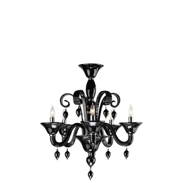 Black Art Glass 5-light Chandelier