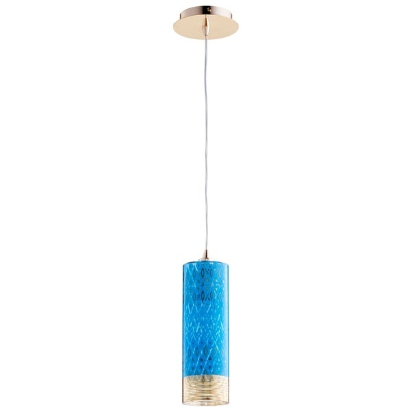 Kaska Goldtone Iron/Blue Glass Pendant