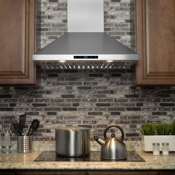 "AKDY RH0228 30"" Stainless Steel Wall Mount Range Hood Touch Screen Display Ductless Vent"