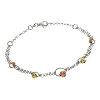 Eternally Haute Italian Tri Colored Solid Sterling Silver Diamond Cut Circle Bead Bracelet