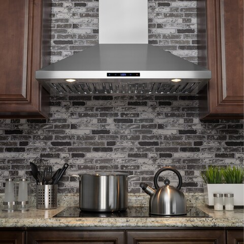 "AKDY RH0229 36"" Stainless Steel Wall Mount Touch Panel Range Hood with Carbon Filters"