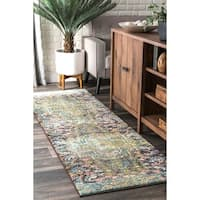 The Curated Nomad Sutro Green Bohemian Floral Runner Rug