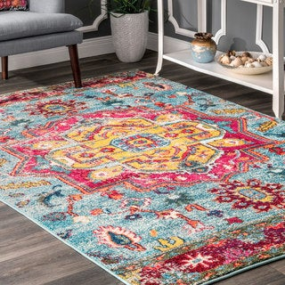 The Curated Nomad Sutro Bohemian Flower Emblem Area Rug (7'10 x 10')