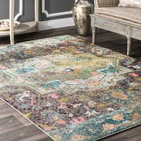 """The Curated Nomad Sutro Bohemian Green Floral Area Rug - 7'10"""" x 11'"""