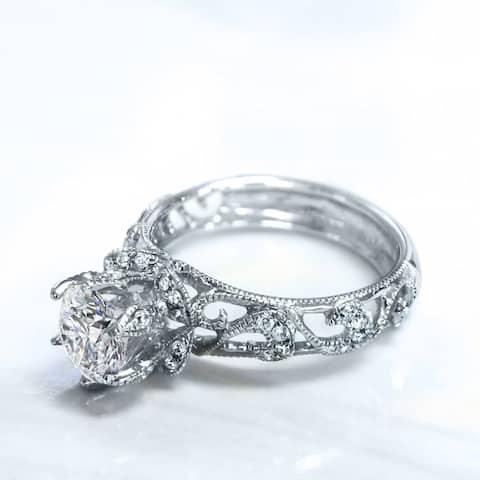 Lihara and Co. 18k White Gold 1/5ct TDW White Diamond Semi-Mount Engagement Ring (G-H, VS1-VS2) - White G-H