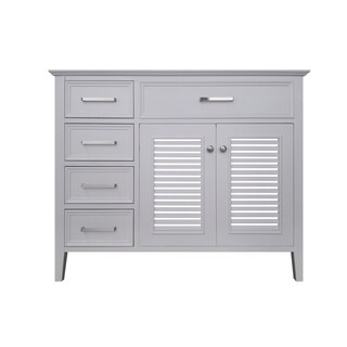 Ariel Kensington 42 in. Right Offset Single Sink Base Cabinet in White