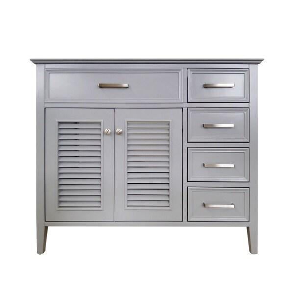 Ariel Kensington 42 In. Left Offset Single Sink Base Cabinet In Grey