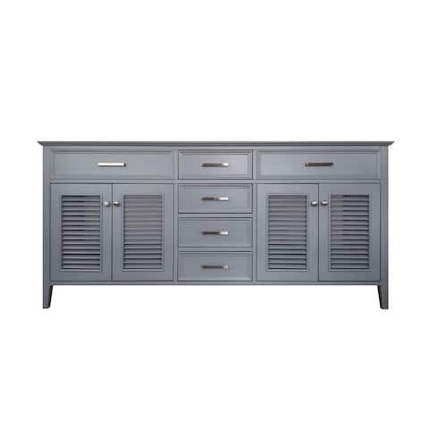 Ariel Kensington 72 in. Double Sink Base Cabinet in Grey Ii