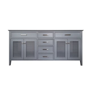Ariel Kensington 72 in. Double Sink Base Cabinet in Grey Ii