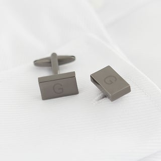 Personalized Gunmetal Rectangle Cuff Links (More options available)