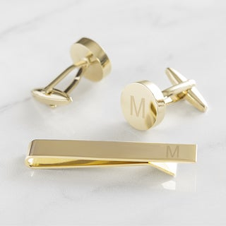 Personalized Gold Round Cuff Link and Tie Clip Set