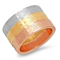 Piatella Ladies Set of 3 Tri-Colored Stainless Steel Pai Nosso Prayer Band Ring