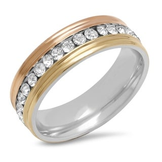 Piatella Ladies Tri-Colored Stainless Steel Cubic Zirconia Band Ring