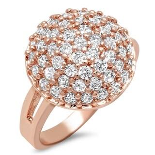 Piatella Ladies Rose Gold Tone Brass Cubic Zirconia Dome Cocktail Ring