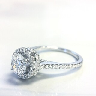Lihara and Co. 18k White Gold 1/3ct TDW White Diamond Halo Semi-Mount Engagement Ring (G-H, VS1-VS2) (More options available)
