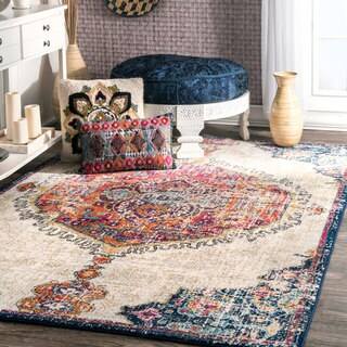 nuLOOM Transitional Medallion Multi Round Rug - 5' Round