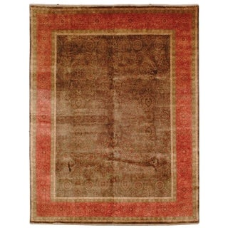 Safavieh Couture Hand-knotted Ganges River Shantell Traditional Oriental Wool Rug with Fringe (3 x 5 - Green/Rust)