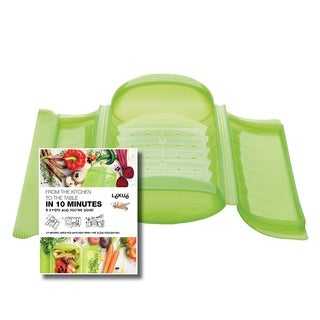 LEKUE Steam Case With Draining Tray Green