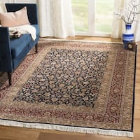 Safavieh Couture Hand-Knotted Royal Kerman Traditional Navy / Red Wool Rug - 4' x 6'