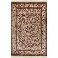 Safavieh Couture Hand-Knotted Royal Kerman Traditional Ivory / Ivory Wool Rug - 4' x 6'