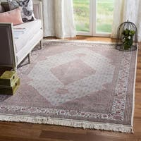 Safavieh Couture Hand-Knotted Tabriz Herati Vintage Ivory / Yellow Silk & Wool Rug - 4'6' x 6'6'