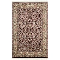Safavieh Couture Hand-Knotted Royal Kerman Traditional Red / Ivory Wool Rug - 5' x 7'