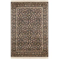 Safavieh Couture Hand-Knotted Royal Kerman Traditional Navy / Multi Wool Rug - 5' x 7'