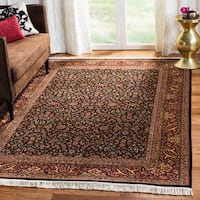 Safavieh Couture Hand-Knotted Royal Kerman Traditional Black / Red Wool Rug - 5' x 7'