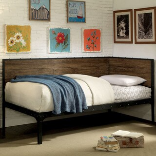 Furniture of America Xenon Industrial Style Black Corner Daybed