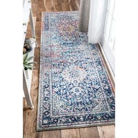nuLOOM Distressed Vintage Faded Floral Blue Runner Rug (2'8 x 12')
