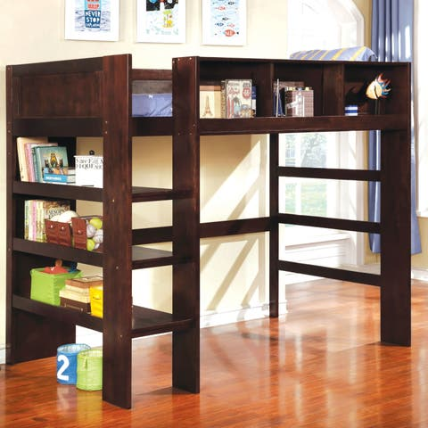 Peralta Transitional Twin Loft Bed with Built-in Bookcase by FOA