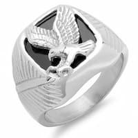 Steeltime Men's Stainless Steel Eagle Ring with Black Enamel