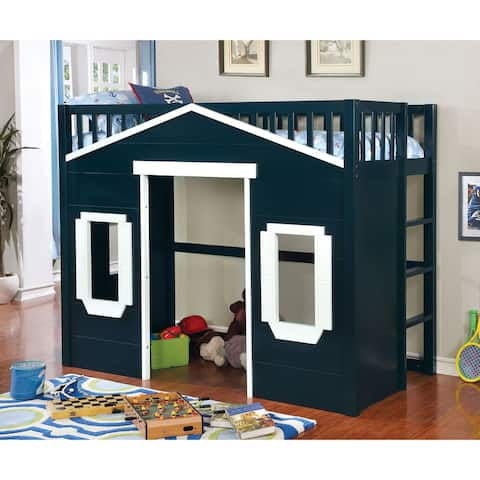 Furniture of America Rill Transitional Twin Solid Wood Loft Bed