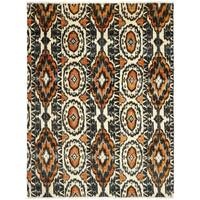 Safavieh Couture Hand-Knotted Calcutta Ikat Modern Ivory / Rust Wool Rug - 6' x 9'