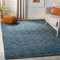 Safavieh Couture Hand-Knotted Castilla Casual Blue / Cream Black Wool Rug - 6' x 9'