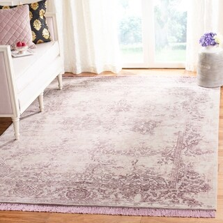 Safavieh Couture Hand-Knotted Dream Traditional Beige / Lilac Wool & Silk Rug (6' x 9')