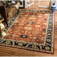 Safavieh Couture Hand-Knotted Heriz Traditional Rust / Navy Wool & Cotton Rug - 6' x 9'