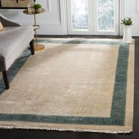 Safavieh Couture Hand-Knotted Jewel Of India Vintage Ivory / Light Blue Silk & Wool Rug - 6' x 9'