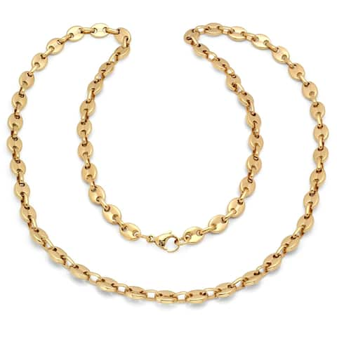 Steeltime Men's Gold Tone Stainless Steel Puff Mariner Link Necklace