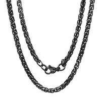 Steeltime Men's Black IP Stainless Steel Chain Necklace