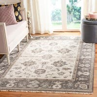 Safavieh Couture Hand-Knotted Oushak Traditional Ivory / Charcoal Wool Rug - 6' x 9'