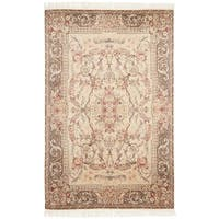 Safavieh Couture Hand-Knotted Royal Kerman Traditional Beige / Tan Wool Rug - 6' x 9'