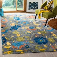 Safavieh Couture Hand-Knotted Tibetan Contemporary Blue / Multi Wool & Cotton Rug - 6' x 9'