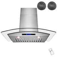 AKDY RH0237 30 in. Convertible Kitchen Wall Mount Range Hood in Stainless Steel with Remote and Carbon Filter